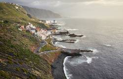 El Pris village on the Atlantic shore at sunset, Tenerife.
