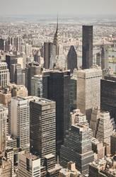 Retro stylized aerial view of New York City, USA.