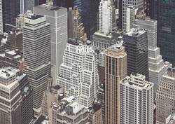 Retro stylized aerial view of Manhattan architecture, NYC.