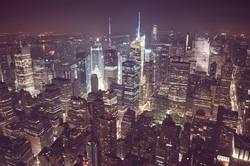 New York City at night, USA.