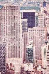 Retro stylized picture of New York City buildings.