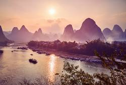 Scenic sunset over Li River in Xingping, China