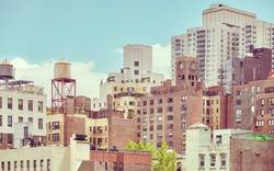Old residential buildings in New York City.