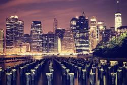 Manhattan waterfront at night, New York, USA.