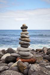 Stone stack on a beach, balance and harmony concept.