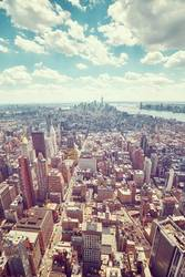wide angle aerial picture of Manhattan skyline.