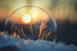 Seifenblase und Sonnenuntergang