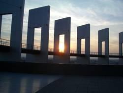 Sonnenuntergang am Europaparlament