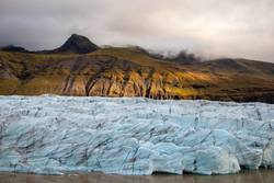Glacier in Iceland is illuminated by sun