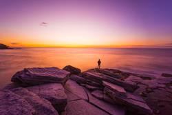Person watching sunrise