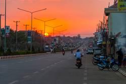 Pakse main road in sunset, Laos