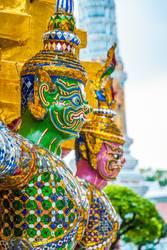 Colorful statue at Wat Phra Kaew temple, Bangkok