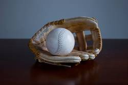 Vintage baseball glove on the table