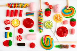 Colorful lollipops and candies and sweet candy