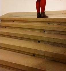 Little Red Riding Hood standing at the stairs
