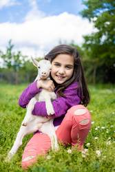 Little girl hugging a goat on a field