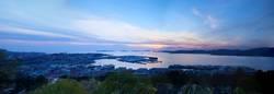 Landscape of the city of Vigo at sunset