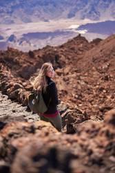 Girl on the Teide mountain in Spain