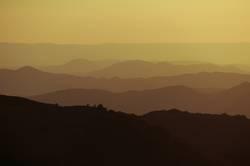 Hills in yellow sunlight