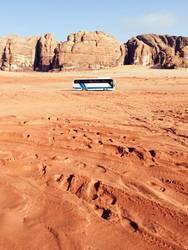 Bus in Wadi Rum