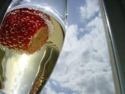 erdbeere im Sektglas