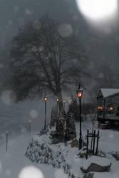 Unscharf l Lichter im Schneefall