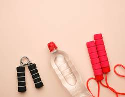 red sports rope for jumping and cardio