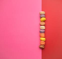 round multi-colored baked macarons