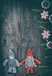 Christmas wooden background with Christmas toys