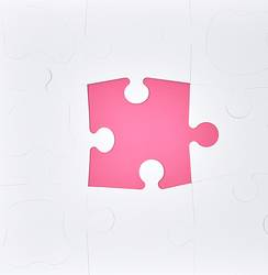 white large blank puzzles on a pink background