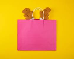 pink paper bags for shopping, inside the Christmas mask
