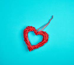 wicker red heart on a blue background