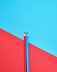 red and blue wooden pencils