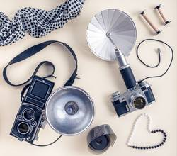 Vintage photo cameras and accessories