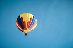 Colorful hot air balloon in the blue sky