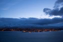 Icelandic city Akureyri at night, wintertime