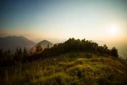 Sunset panorama from Heimgarten mountain in Bavaria, Germany