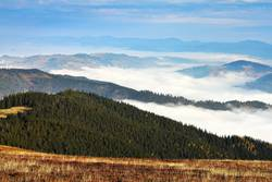 fog over the mountains and valleys