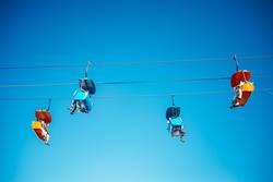 The skyride gondolas at the amusement park