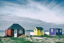 Strandhäuser auf der dänischen Insel Ærø