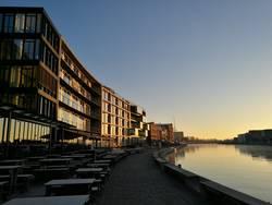 Sonnenaufgang am Stadthafen von Münster in Westfalen