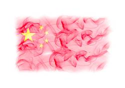 China flag with smoke texture on white background