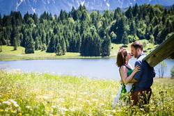 happy lovers on Holiday in the alps mountains