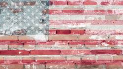 United States flag with brick texture