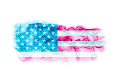 United States flag with smoke texture on white background