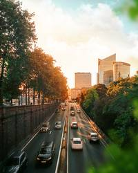 Cityscape of traffic road at sunset