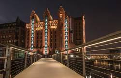 Maritim museum of Hamburg at night.