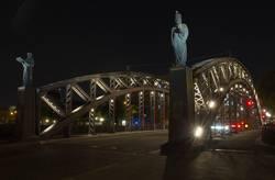 Brooksbrücke in Hamburg bei Nacht.