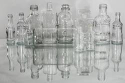 Translucent glass bottles.