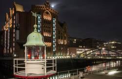 Historical buildings of Hamburg at night.